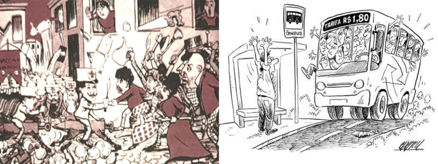 charges sobre as manifestacoes 1904 e 2013
